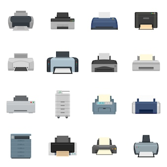 Printer office copy document icons set flat style