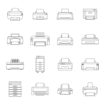 Printer office copy document icons set