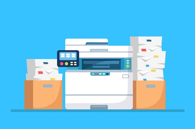 Printer, office machine with paper, document stack. scanner, copy equipment. multifunction device. paperwork with carton, cardboard box.