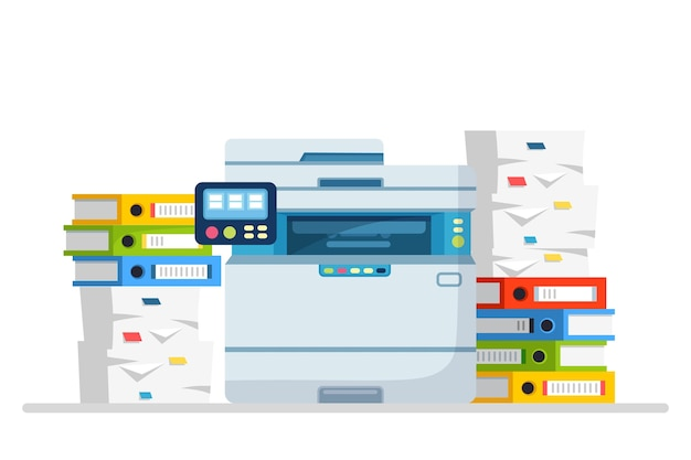 Printer, office machine with paper, document stack. scanner, copy equipment.