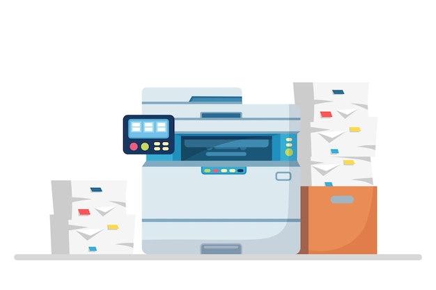 Printer, office machine with paper, document stack.
