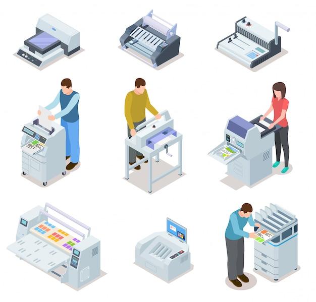 프린터 플로터, 오프셋 절단기 및 사람들 세트