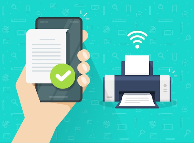 Printer printing document wirelessly from mobile phone or smartphone wifi connection flat cartoon illustration