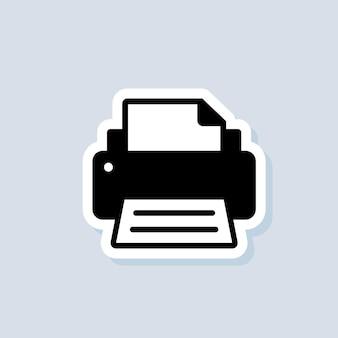 프린터 스티커. 팩스 아이콘입니다. 팩스 로고. 격리 된 배경에 벡터입니다. eps 10.