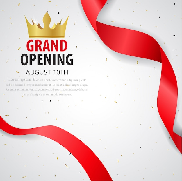 Printgrand opening card design with gold ribbon and confetti