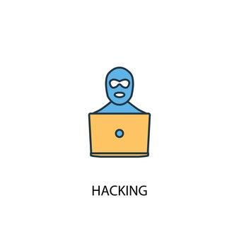 Printhacking 개념 2 컬러 라인 아이콘입니다. 간단한 노란색과 파란색 요소 그림입니다. 해킹 개념 개요 기호 디자인