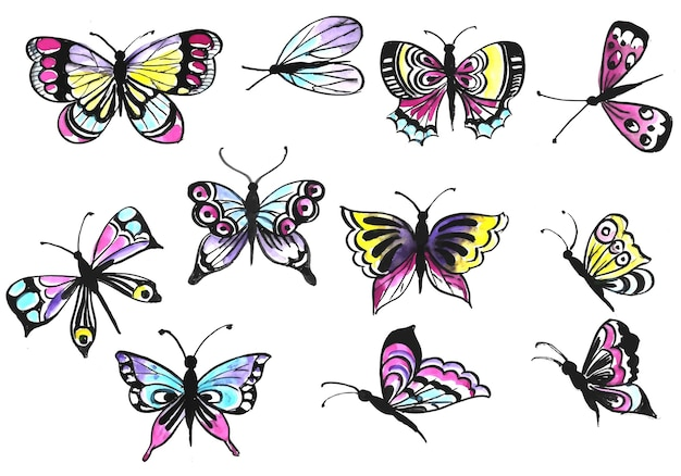 Printhand draw collection of pretty colorful butterflies watercolor design