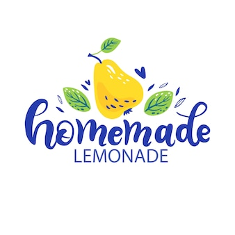 Printhand drawn lettering inscriptions about homemade lemonade with pear and leaves