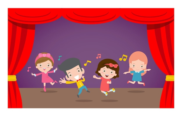 Printhappy children dancing and jumping at stage