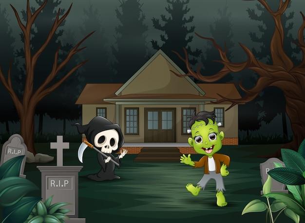 Printhappy halloween frankenstein and grim reaper