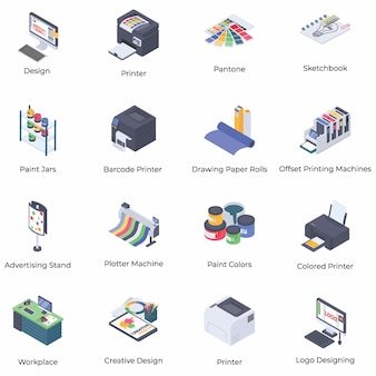 Printing and graphic designing isometric icons