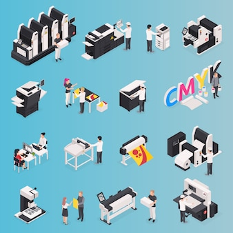 Printing house icons set with polygraphy symbols isometric isolated