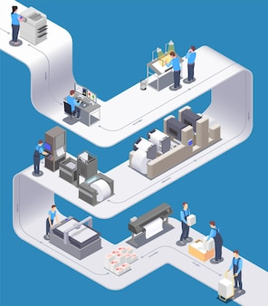 Printing house isometric composition with office staff working with digital rotary and wide print