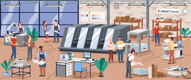 Printing house polygraphy industry isometric composition with human characters