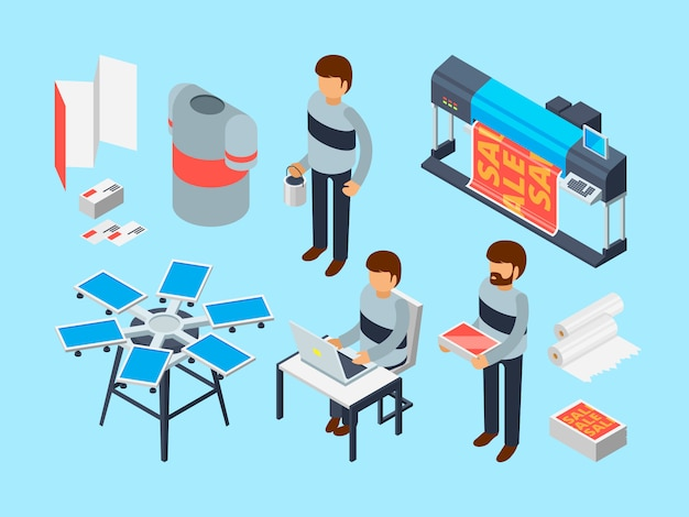 Printing house tools. industrial inkjet offset publishing laser machine printer coloring copier  3d isometric