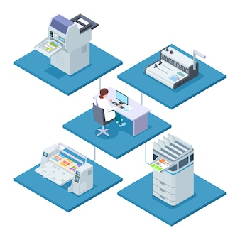 Printing house with woman operator isometric vector concept