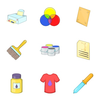 Printing icons set, cartoon style