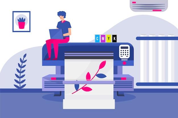 인쇄 산업 평면 디자인