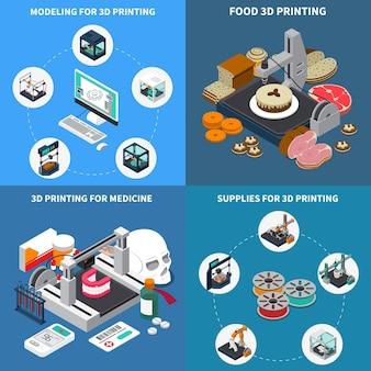 인쇄 산업 아이소 메트릭 디자인 개념.