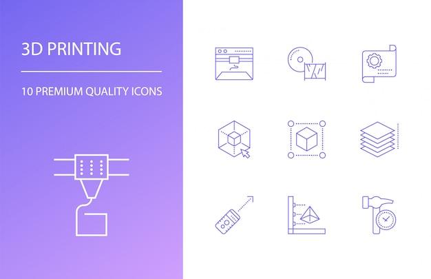 Printing line icons set