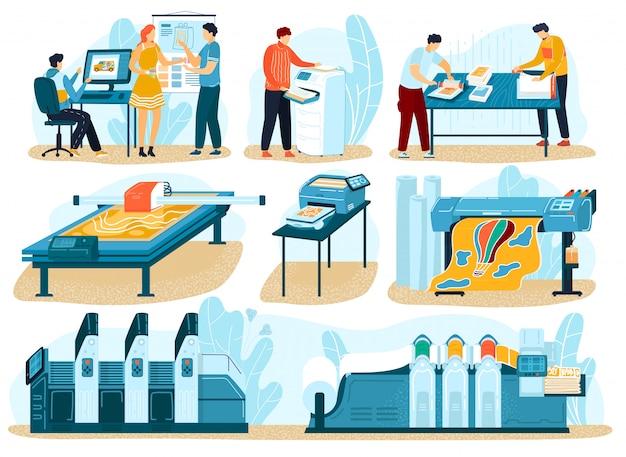 인쇄 공정, 인쇄술 인쇄소의 사람들, 폴리 그래픽 프로세스 일러스트레이션을위한 인쇄 장비 세트.