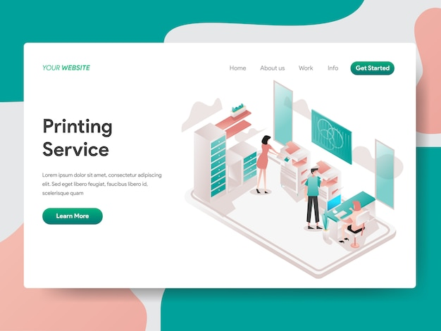 Printing service  isometric for website page