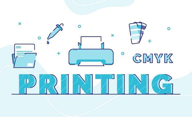 アイコンファイルフォルダインク印刷機パレットカラーのタイポグラフィワードアート背景をアウトラインスタイルで印刷