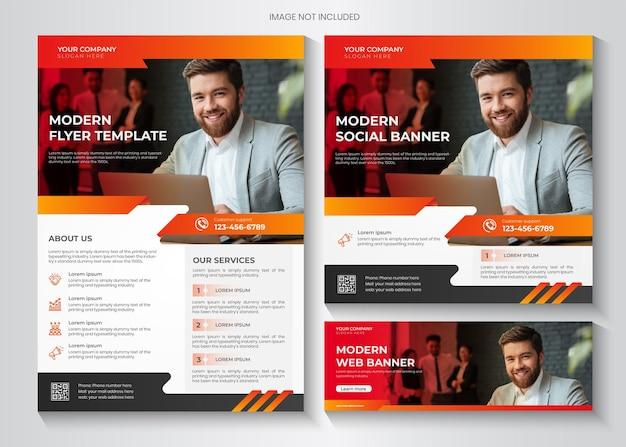 Printmodern business flyer and social media template premium vector