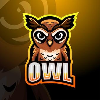 Printowl mascot logo design