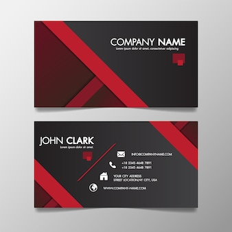 Printred and black modern creative business template patterned and name card.