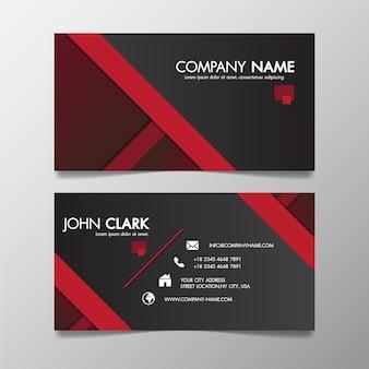Printredと黒の現代的な創造的なビジネステンプレートのパターンと名刺。