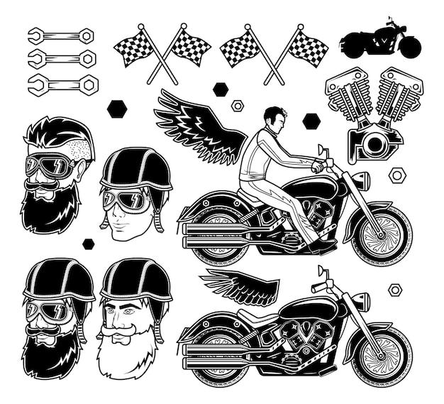 Prints of a man in motorbike