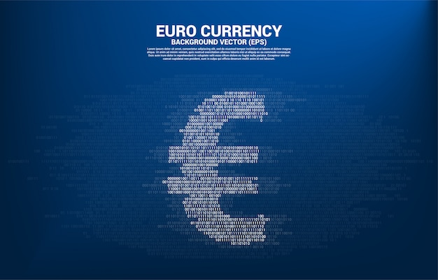 Printvector money euro currency with one and zero binary code digit matrix style. concept for electronic money and digital banking