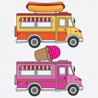 Printvectorフードトラックアイスクリームとホットドッグ