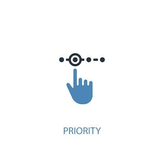 우선 순위 개념 2 컬러 아이콘입니다. 간단한 파란색 요소 그림입니다. 우선 순위 개념 기호 디자인입니다. 웹 및 모바일 ui/ux에 사용할 수 있습니다.