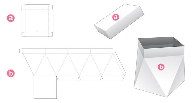 Prism box and lid die cut template