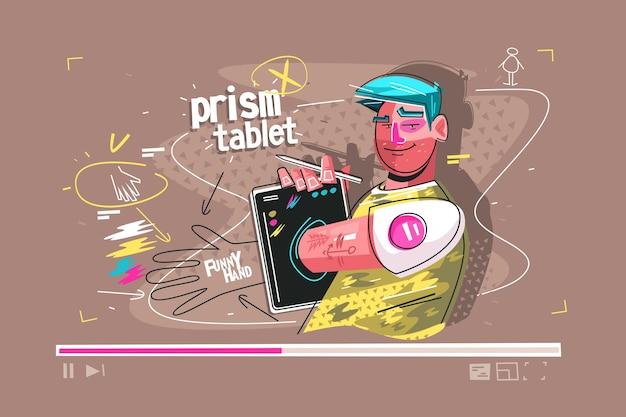 태블릿 벡터 일러스트 레이 션의 프리즘입니다. 현대적인 가제트 플랫 스타일 디자인을 사용하여 재미있는 손을 보여주는 만화 웃는 남자. 비디오 수업을 제시하는 남자