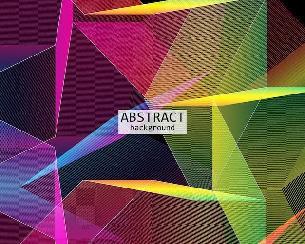 검은 배경에 프리즘 패턴입니다. 다채로운 기하학적 벽지입니다. 벡터 일러스트 레이 션.