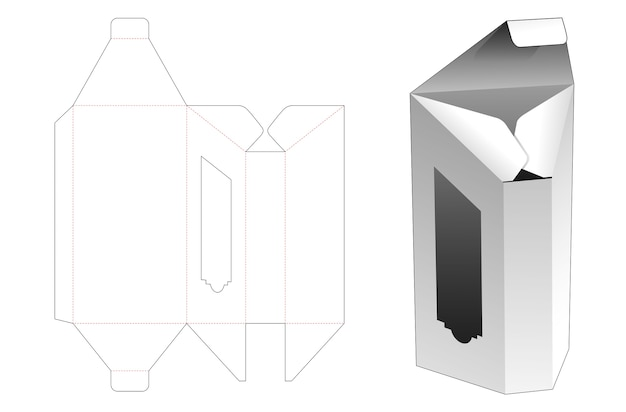 Prism shaped long box with window die cut template