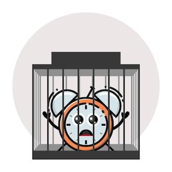 Prison alarm clock cute character logo