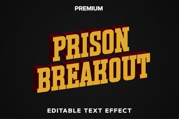 Prison breakout - game title style text effect premium