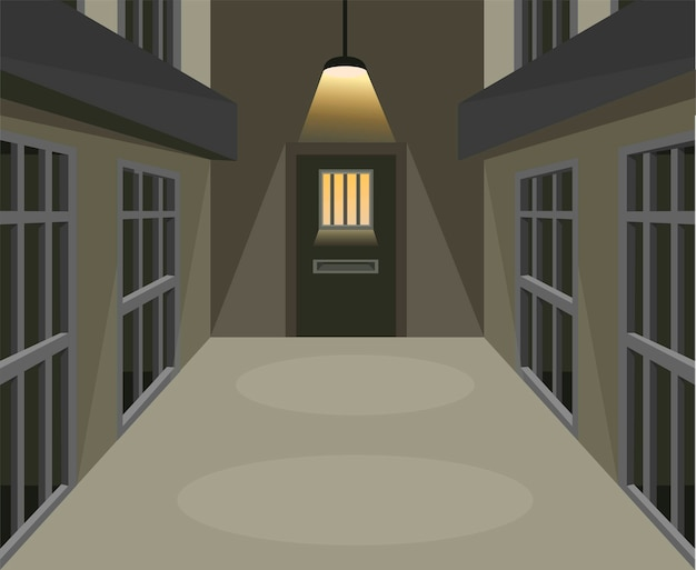 Prison cell corridor in dark scene concept in cartoon illustration