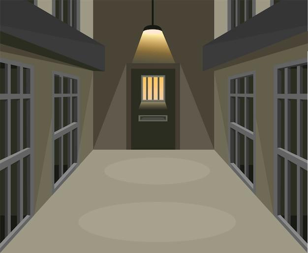 漫画イラストの暗いシーンの概念の刑務所の独房の廊下