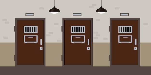 Коридор тюрьмы с дверьми и окнами камеры концепция интерьера тюрьмы