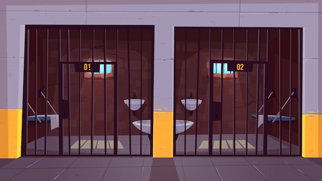 Prison corridor with two empty single cells behind steel bars cartoon.