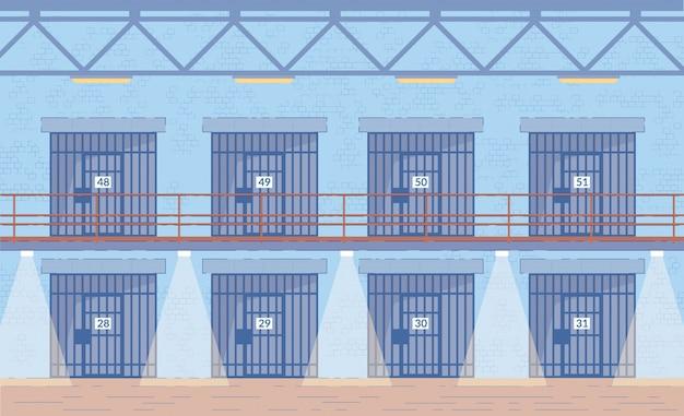Prison doors in corridor