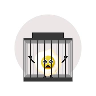 刑務所の卵かわいいキャラクターのロゴ