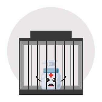 刑務所の手指消毒剤かわいいキャラクターのロゴ
