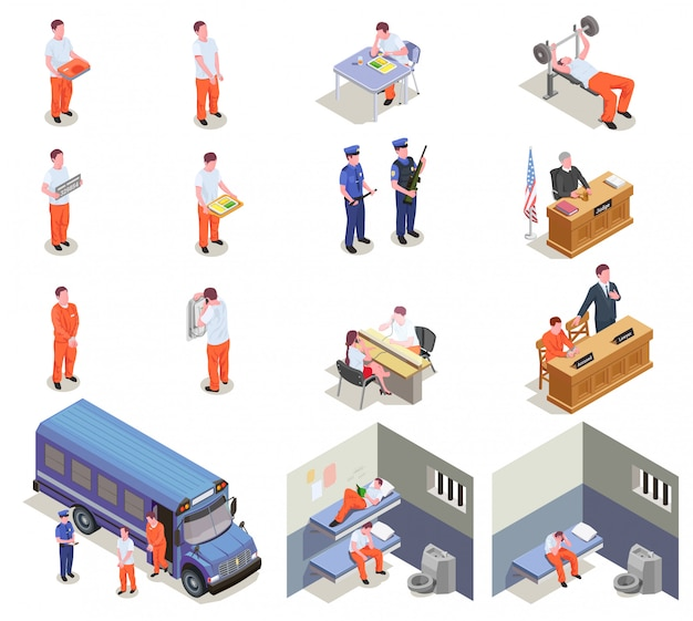 Prison isometric elements set