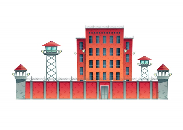 Prison, jail building fenced with guard observation posts on high fence with strained barbed wire and searchlights projectors on watchtowers cartoon vector illustration isolated